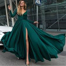 evening gown sleeves v neck evening dresses 2018 chiffon prom gowns with