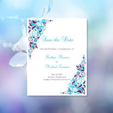 make your own save the date malibu blue purple save the date