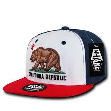 California State Flag California Republic State Bear Flag Snapback Hat Red White Blue