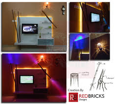 tv unit design a play of bamboo and lights redbricks designs