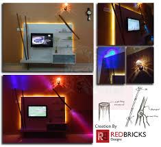 Tv Unit Interior Design Tv Unit Design A Play Of Bamboo And Lights Redbricks Designs