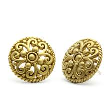 designer stud earrings gold stud earrings lace detail oversized studs designer jewelry