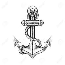 hand drawn elegant ship sea anchor with black sketch for