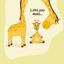 s day giraffe happy mothers day celebration with giraffe stock illustration