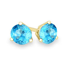blue topaz stud earrings blue topaz stud earrings in 14k gold 3 prong martini studs 6mm