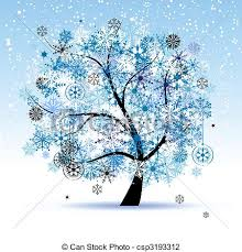 vector illustration of winter tree snowflakes