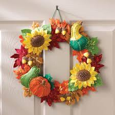 bucilla seasonal felt home decor harvest time wreath