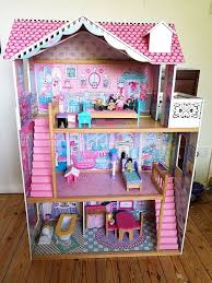 Barbie Dolls House Furniture Very Large Wooden Dolls House With Elc Dolls U0026 Furniture Ideal