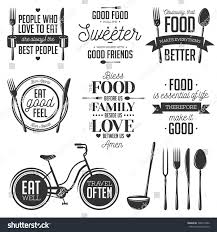 set vintage food related typographic quotes stock vector 328413386