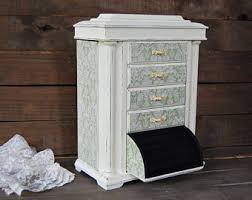 Shabby Chic Jewelry Armoire by Shabby Chic Jewelry Box Music Box Mint Green French