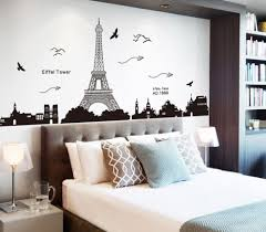 Grey Themed Bedroom by Bedroom Spacious Eiffel Tower Decor For Bedroom With Brown Bed And
