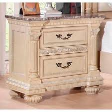 homelegance russian hill night stand with faux marble top in