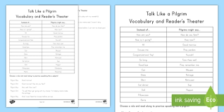 talk like a pilgrim vocabulary and reader s theater activity