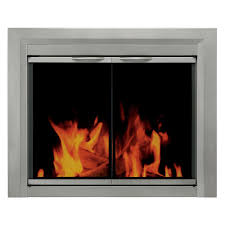 pleasant hearth colby cabinet fireplace screen and smoked glass