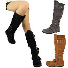 s boots knee high brown womens boots knee high mid calf flat adjustable straps