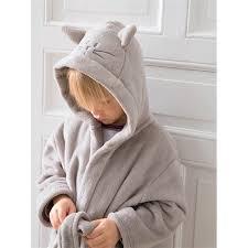 robe de chambre bébé robe de chambre enfant polaire gris oreilles broderies