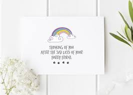pet condolences rainbow bridge card for pet loss pet loss card pet