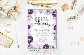 Purple And Silver Wedding Invitations Digital Bridal Shower Invitation Purple Gray Silver Glitter