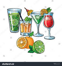vintage martini illustration pop art style cocktails set patch stock vector 710127583