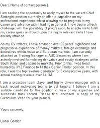 sample cover letter for trader