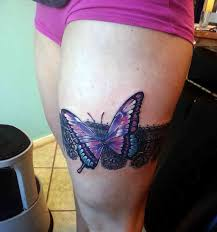unique 3d butterfly on thigh truetattoos