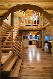 how to decorate log cabin staircase traditional with log banister