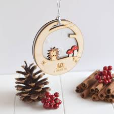 Personalised Baby S First Christmas Decoration personalised baby u0027s first christmas hedgehog bauble by just