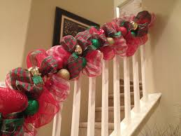 deco mesh ideas christmas decorations banister christmas decorating staircase