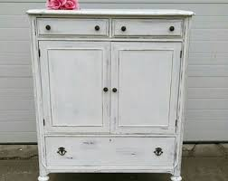 Farmhouse Armoire Hand Painted Furniture Vintage Decor By Bytheshorevintage On Etsy