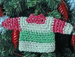 crochet and a mini sweater ornament imagine