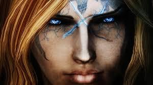 wallpaper face model blue eyes glasses wizard the elder