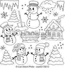 theme line winter winter theme drawings 2 eps10 vector illustration vector clip art