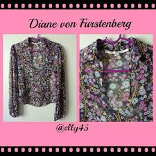 listing dvf sheer floral silk blouse feminine scoop