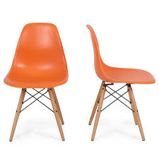Orange Chair Amazon Com Belleze Set Of 2 Dsw Plastic Molded Side Dining
