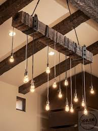 rustic wood beam light fixture with edison lights price varies by