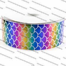 grossgrain ribbon 3 75mm glitter rainbow mermaid sequins fish scales print grosgrain