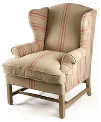 Red Club Chair Khaki Linen English Club Chair With Red Stripe Traditional