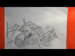 how to draw a motorcycle suzuki hayabusa sports bike step by step