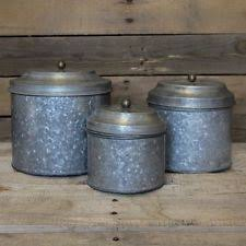 tin kitchen canisters canister set rustic vintage kitchen storage 3 galvanized