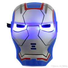 2017 glow in the dark led iron man mask halloween costume theater