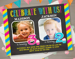 joint birthday party invitation with photo gold glitter double