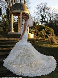 feather wedding dress goose feather wedding dress sews 22 000 feathers to