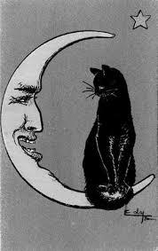 black cat sitting on an anthropomorphic moon anthropomorphic