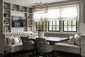 Black Banquette Gray Leather Tufted Dining Banquette With Black Trestle Table