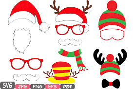 christmas photo booth props christmas props party photo booth silhouette costume cutting files