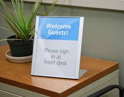 Desk Signs For Office Desktop Signs Reception Signs Front Counter Copay Signs