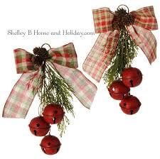 jingle bell w cedar bow ornaments set 2 11 inch shelley b