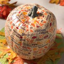 thanksgiving crafts treats pumpkin decoupage idea with paper napkins decoupage napkins and
