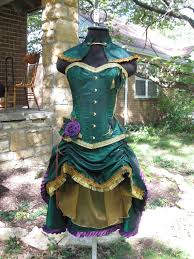 Wow Halloween Costumes Steampunk Poison Ivy Costume Burlesque Circus Corset Custom
