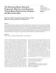 the shortened raven standard progressive matrices pdf download